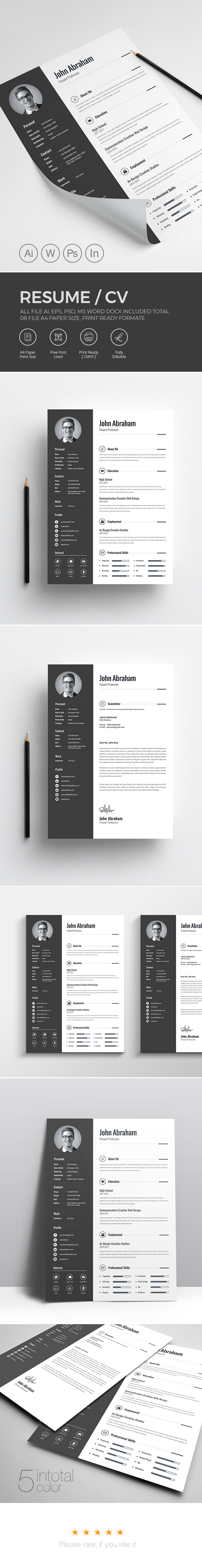 a4 resume bebas clean cv cover letter creative CV Creative Resume curriculum Vitae CV