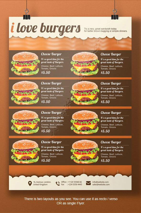 sandwich shop menu template - burger a4 flyer template on behance