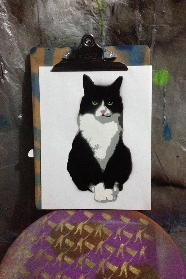 stencil layers spray paint layla Cat