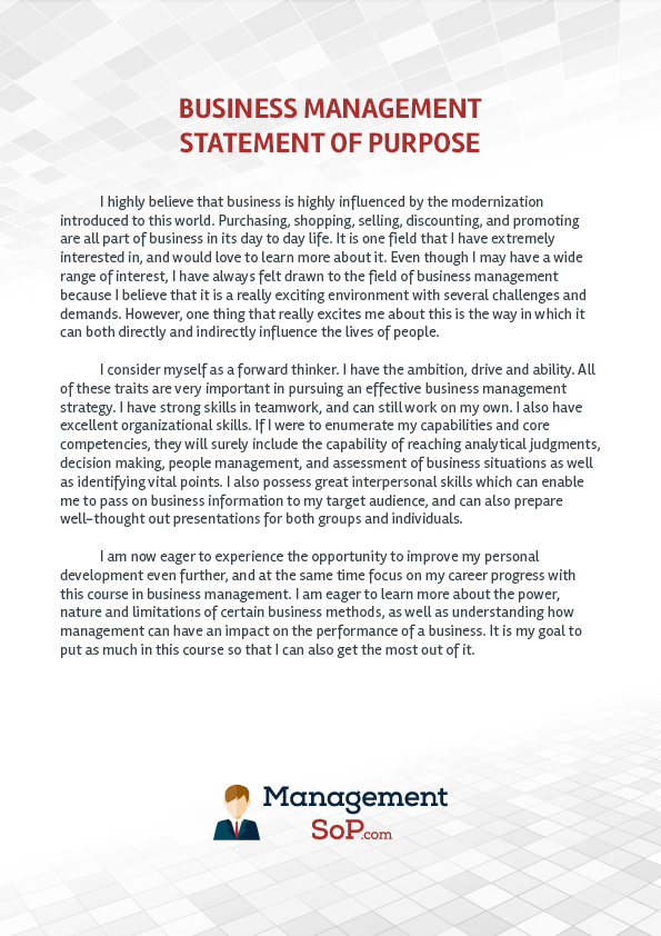 statement of purpose bba The global business executive mba business as human salvation: the personal statement of purpose for business school at the center of my own interest in business stands the concept of 'socially responsible' business practices.
