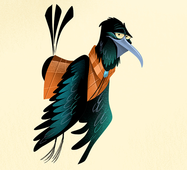 Behance Character Design Served : Grackle character illustrations for the houstonian on