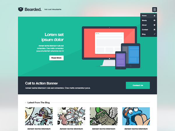 Bearded Free PSD & WordPress Theme on Behance