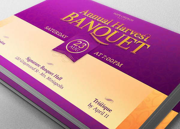 Harvest Banquet Postcard Template On Behance - Event postcard template