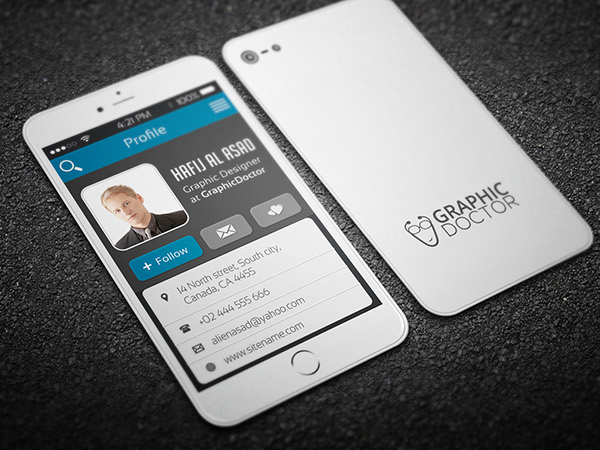 Iphone business card template on behance reheart Images