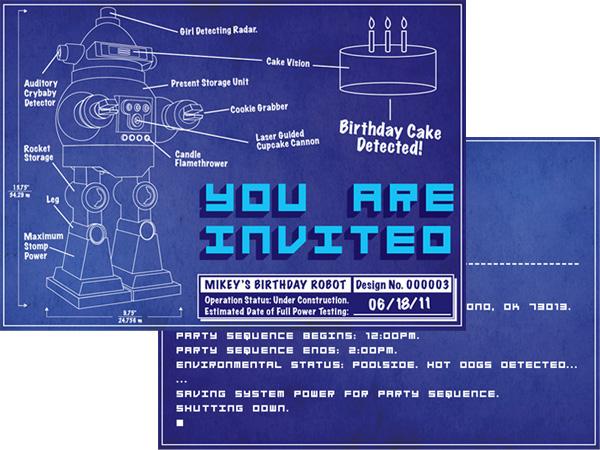 jenkin hammond robot birthday party invitation