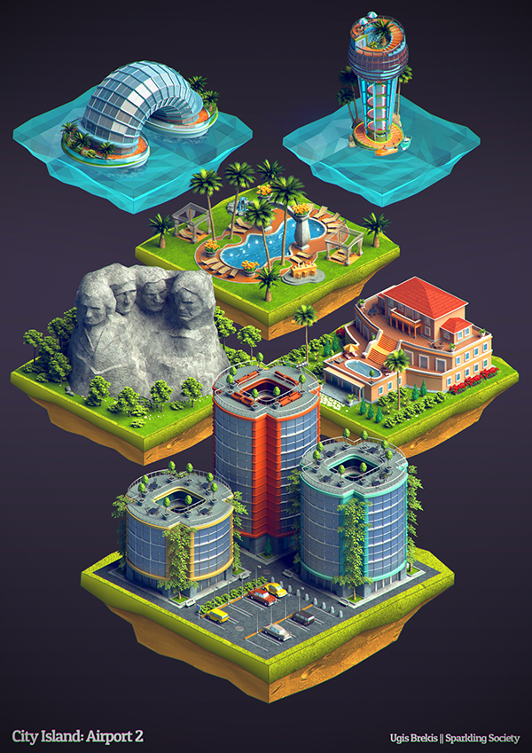 isometric buildings city island airport 2 on behance. Black Bedroom Furniture Sets. Home Design Ideas