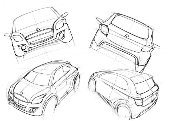 concept car sketch rendering