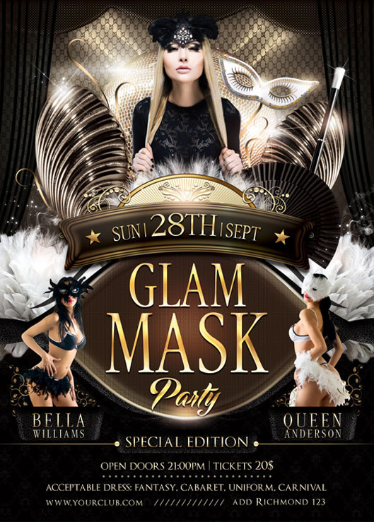 Glam Mask Party Flyer Template On Behance