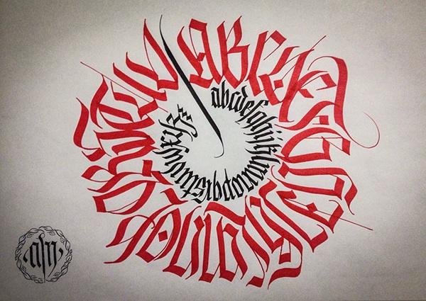 Calligraphy Fraktur Circular Alphabet On Pantone Canvas
