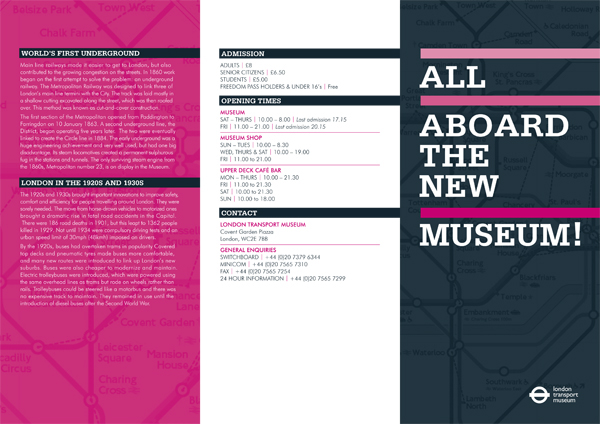 London Transport Museum - Brochure on Behance