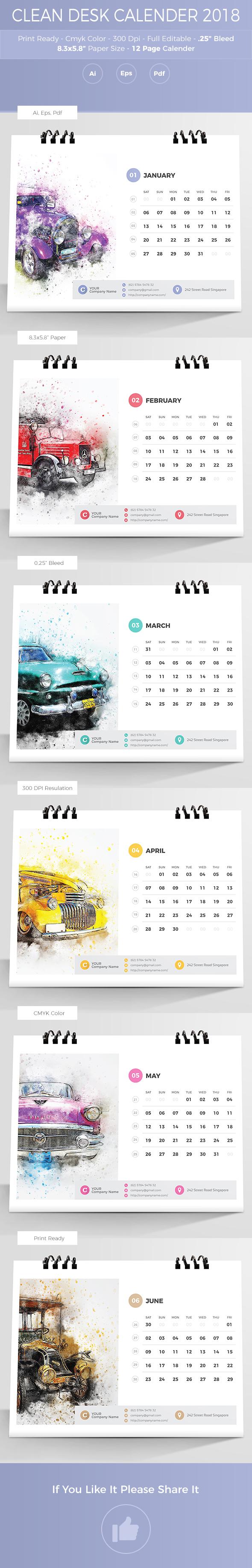 Clean Desk Calendar 2019 on Behance