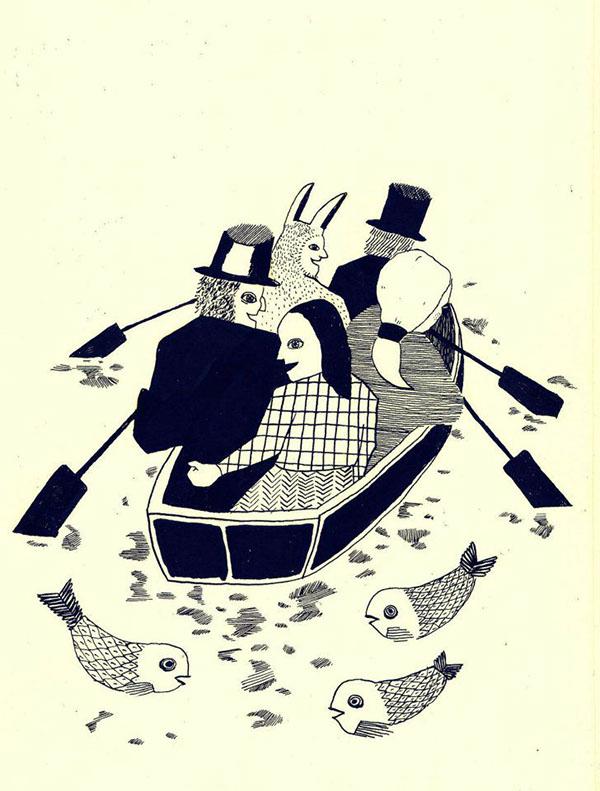 summer  Weird   Illustration  beetle  boat