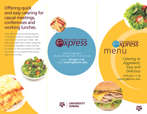 Texas A&M Catering Express Brochure on Behance