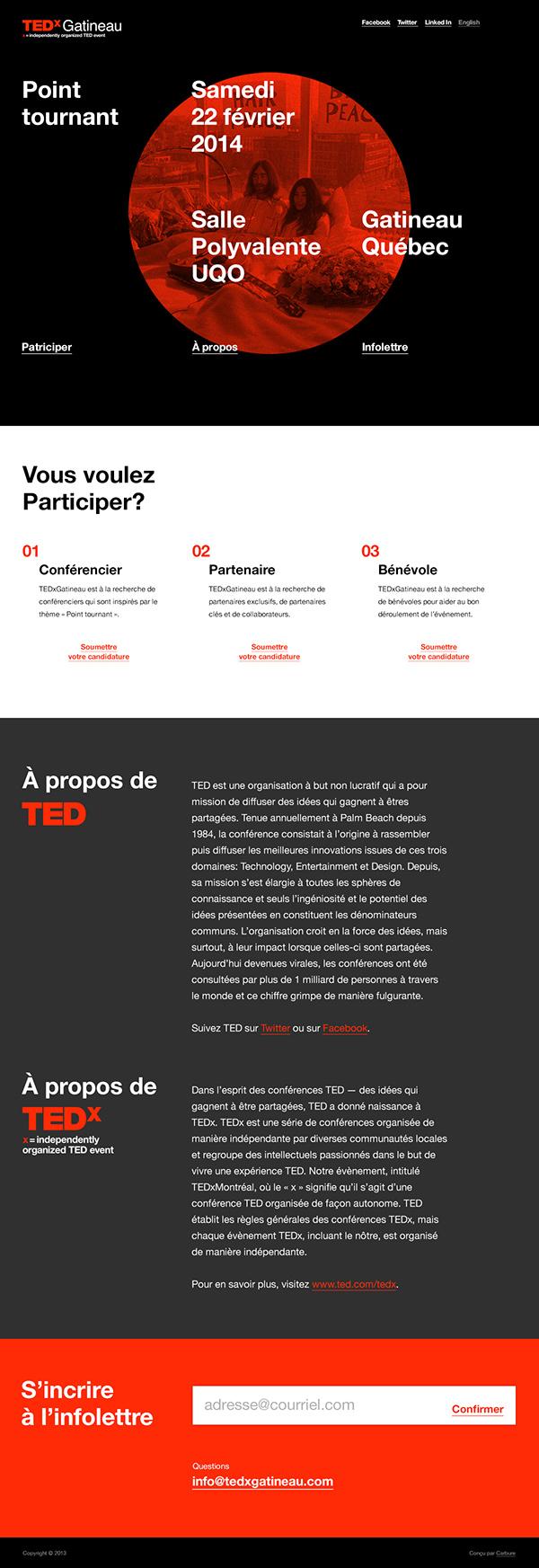 TED wordpress design black red Single Web Responsive bold