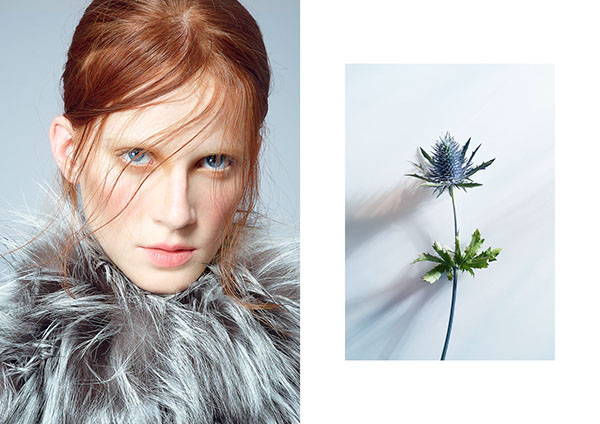 editorial studio creative Flowers mixed media collage blue redhair woman Marble