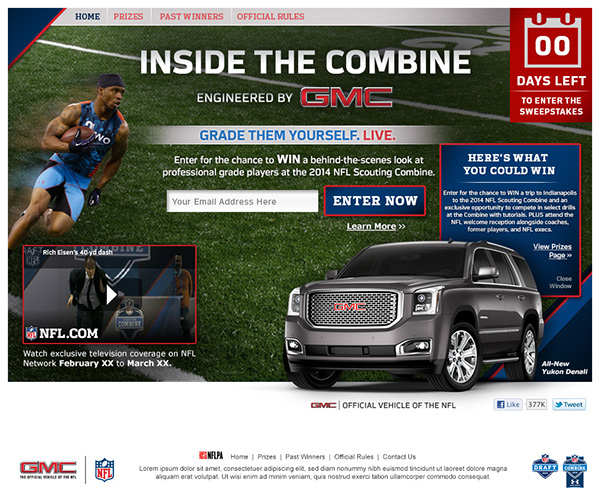 NFL GMC Sweepstakes Website Design And Web Banners On Behance