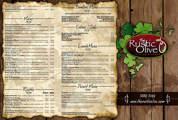 Rustic Olive Menu On Behance