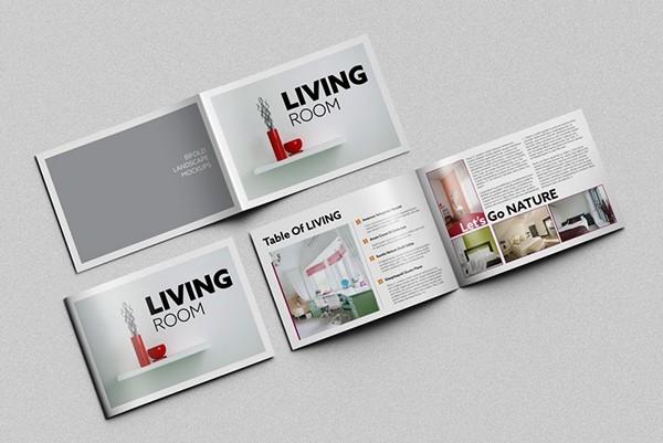horizontal brochure template - bi fold horizontal brochure mockups on behance