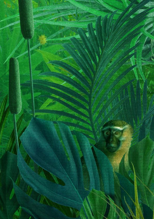 frog jungle childrenbook green finart mixedmedia fairytale Poetry  SUREAL girl