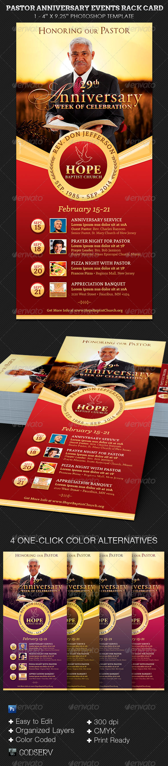 pastor anniversary events rack card template on behance