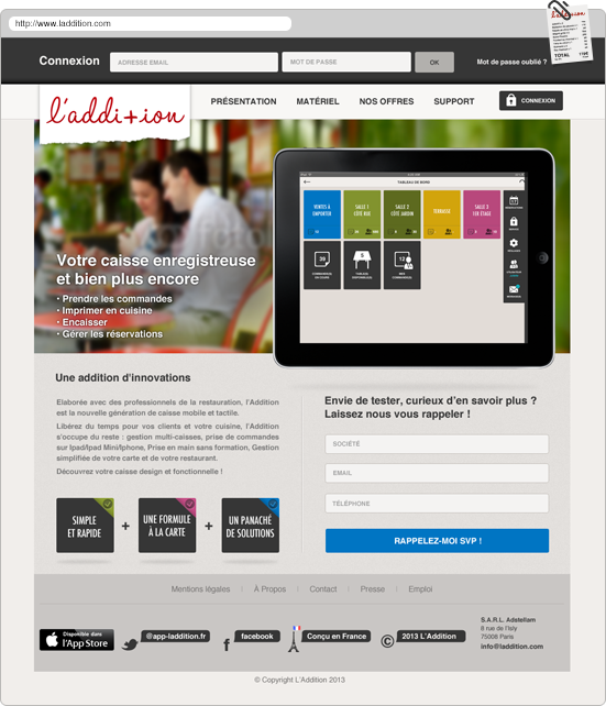 restaurant addition caisse reservation iPad btob red Real effect