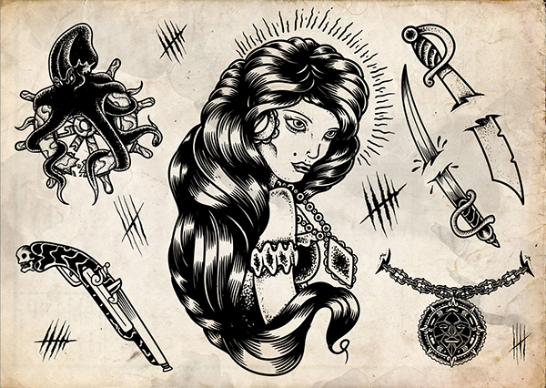 Assassins Creed Black Flag Tattoo Flash On Behance