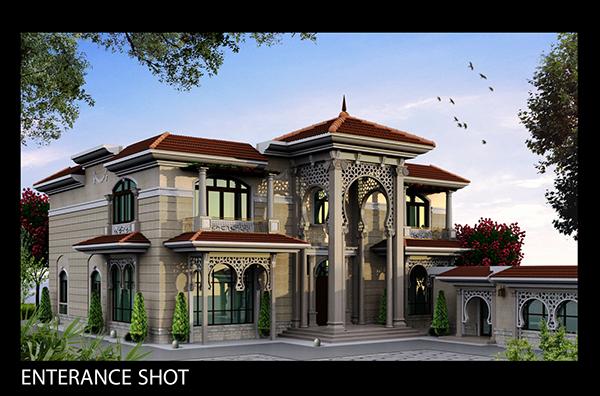 Villa khaled exterior design in doha qatar on behance for Villa exterior design gallery
