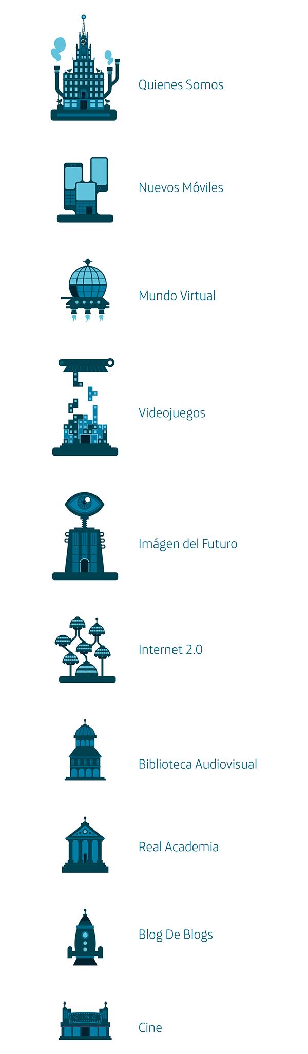 fantastic city  Illustration  vector  Icons  smart Cities  innovation  Technology