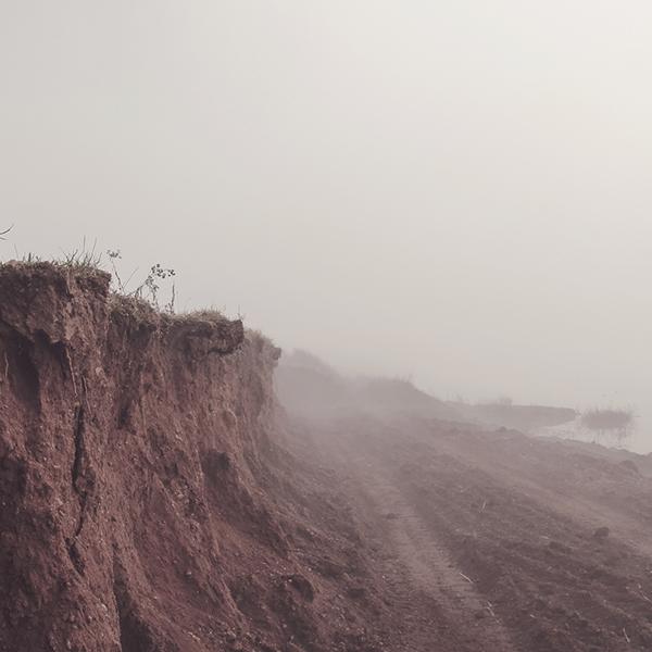 mist fog earth land water lake mud fields gravel