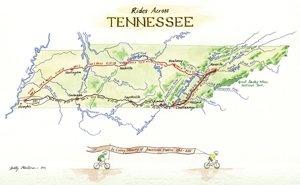 Cycling map of Tennessee on Behance