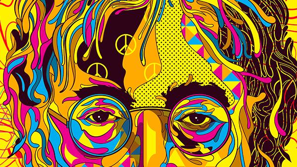 magazineillustration editorialillustration Vectorillustration popart OrganicShapes Lennon Beatles Hendrix pop CMYK the beatles Marilyn Monroe monroe warhol