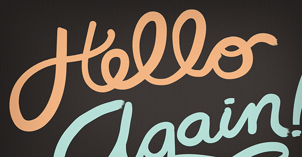 lettering postcard hello again Script cursive teal black yellow pink illustrated Hand-lettered vector 3D dimensional
