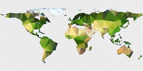 Vector polygon world map on behance triangle polygon world map in full vector editable gumiabroncs Image collections
