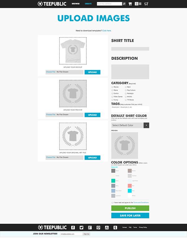 teepublic shirts tees Upload Process store apparel Retail