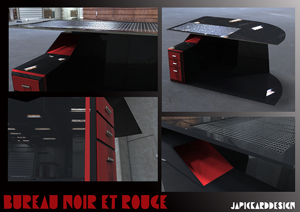 Chaise gamer avatar ergonomique simili noir rouge
