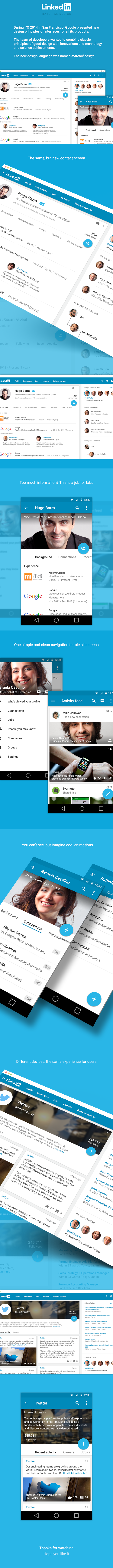 Linkedin material design android l app mobile Web android UI ux google apple watch iphone 6 lollipop android lollipop
