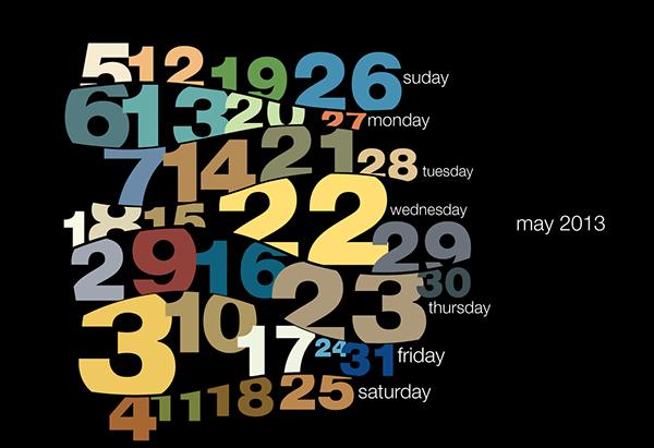 Calendar Typography S : Typography calendar on behance
