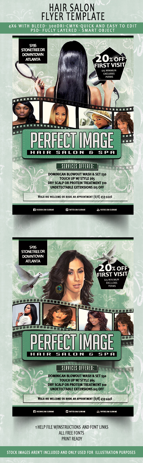 Beauty/Hair Salon Flyer Template (Download NOW) On Behance