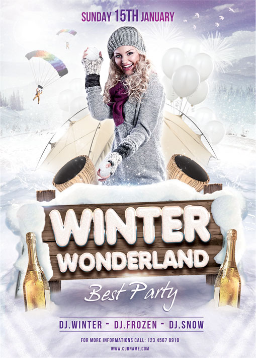 Winter Wonderland Flyer Template On Behance