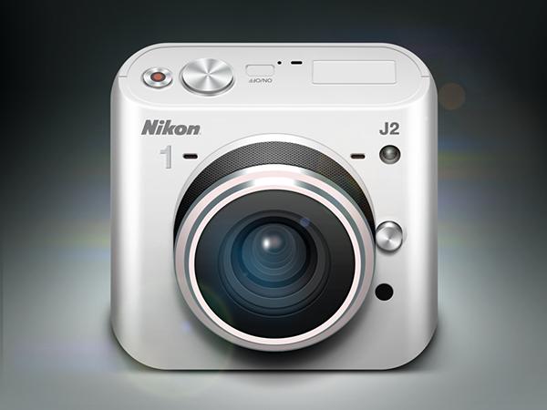 metal buttons Nikon One modern lens camera photo logo Shadows lights reflections Icon