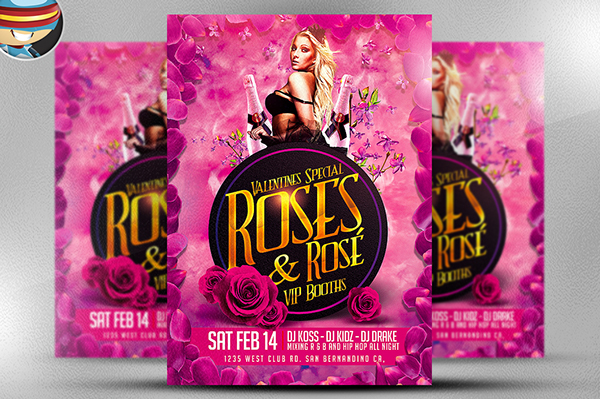 pink roses valentine s flyer template on behance