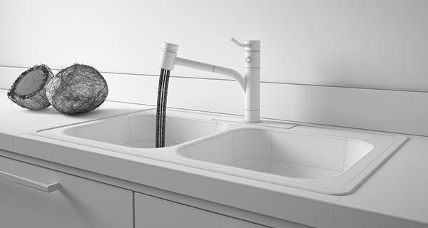 Faucet water kitchen Coconut White Interior design 3D realflow
