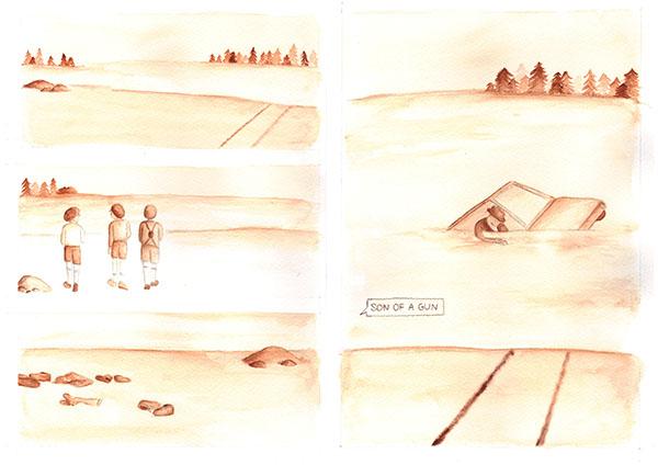 story board  alice munro  book illustration  watercolor  monochrome