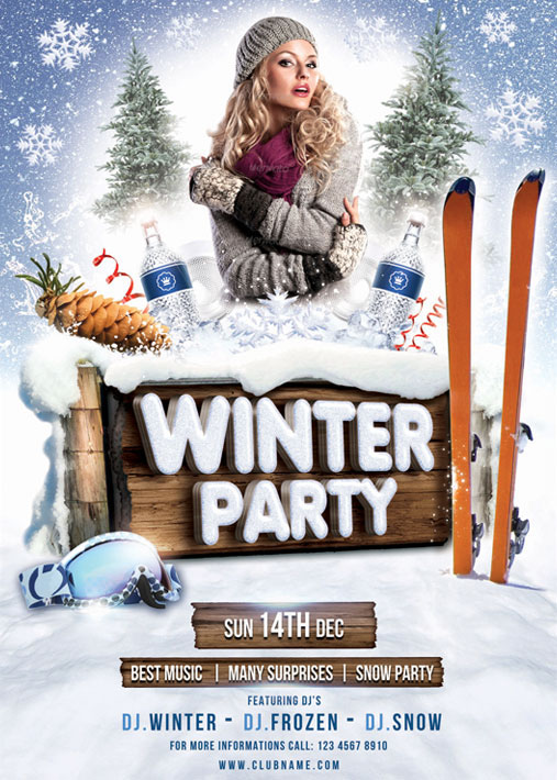 winter party flyer template on behance. Black Bedroom Furniture Sets. Home Design Ideas