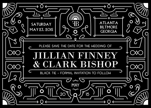 wedding save the date postcard 5x7 Formal black and white black tie Invitation atlanta Biltmore ballroom