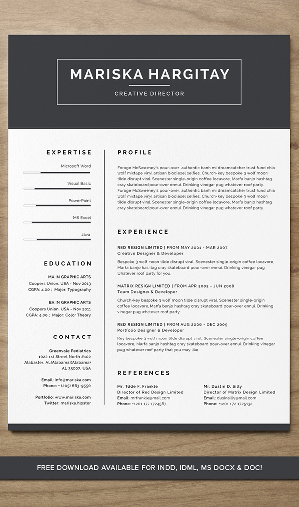 high end free resume cv for word   indd on behance