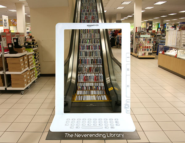 amazon kindle non traditional escalator library Ambient mock up Student work ringling college Amazon kindle Student ADDY local district ADDY award