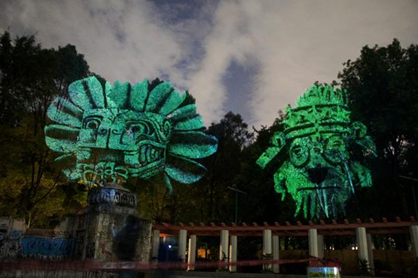 Maizz Visual 3D Face Tree  projection video mapping lighting MEXICO DF Condesa prehispanic art aztec