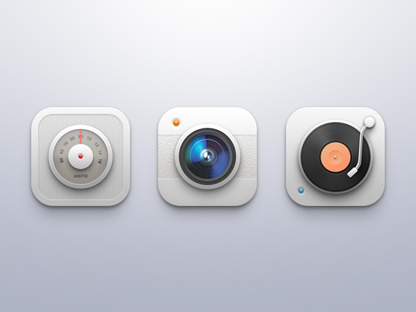 UI icons camera Radio turntable record player ios iphone mobile clean set iconset