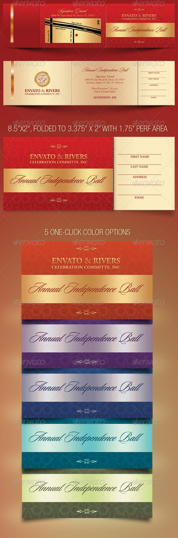 Folded Banquet Ticket Template on Behance – Banquet Ticket Template